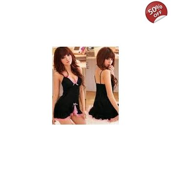 WOMENS SEXY BLACK PINK FRILLY BABYDOLL BABY DOLL CHEMISE LINGERIE NIGHTIE GBP950