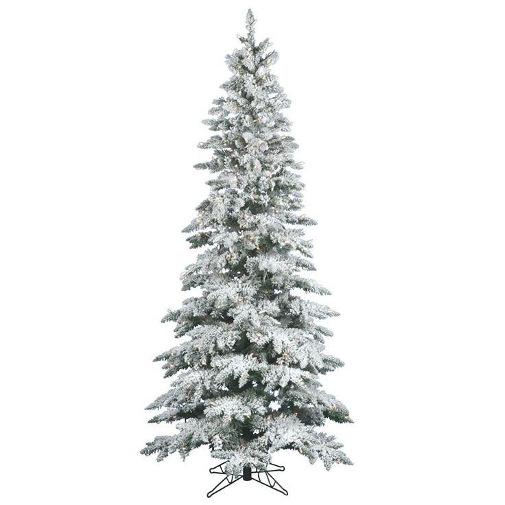 Vickerman Flocked Utica Tree With Dura Lit 300 Clear Lights Ft X 39 Fir 744 Pvc Tips And
