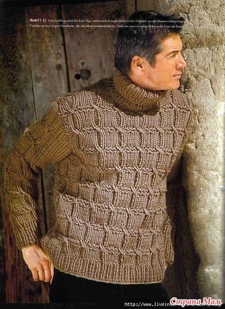 Совсем уж скоро наступят холода! Предлагаю утеплить наших любимых мужчин и связать интересный пуловер. Описание прилагается в картинках, если будет плохо видно перепишу в пост.
