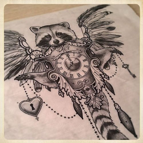 It interesting how many elements are in this tattoo design. #tattoo #tattoos #ink I would love this as a sleeve with a swallow or something in, and something else for the raccoon...