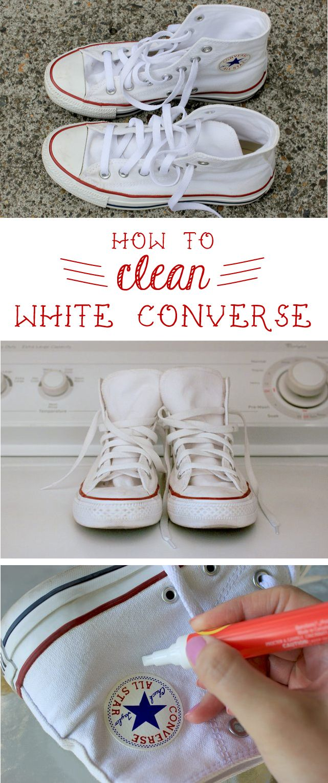 Converse are great, but they are so hard to keep clean! Here's how to keep them looking like new: http://www.ehow.com/how_5125664_clean-white-converse.html?utm_source=pinterest.com&utm_medium=referral&utm_content=inline&utm_campaign=fanpage