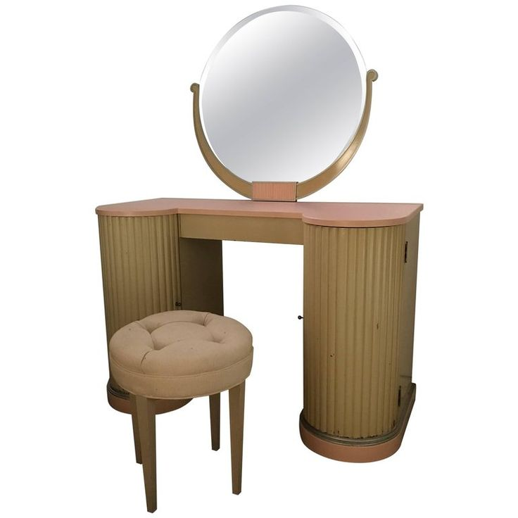 American Art Deco Vanity, Dressing Table, Mirror, Stool by Kittinger Furn Co | From a unique collection of antique and modern vanities at https://www.1stdibs.com/furniture/tables/vanities/