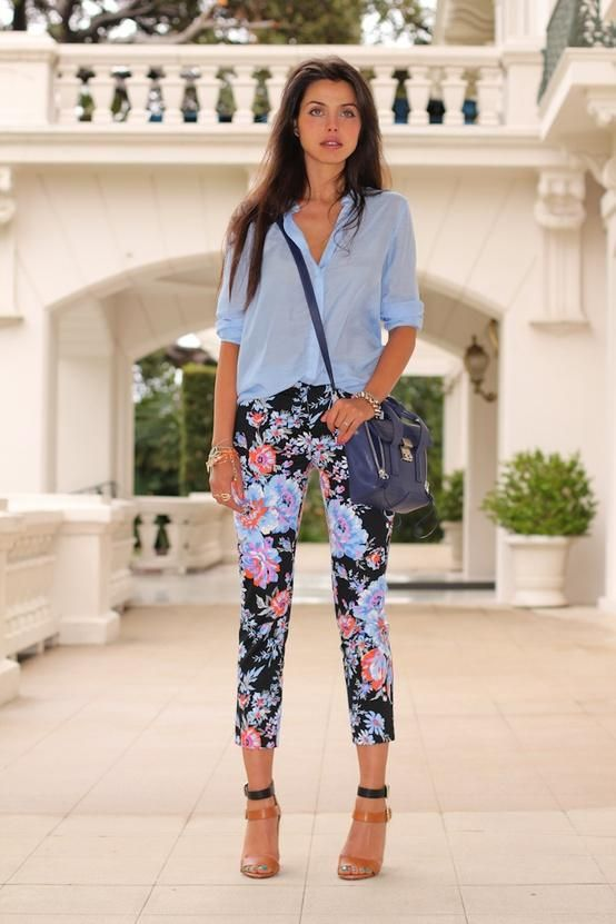 #Floral pants with a classic blue oxford.