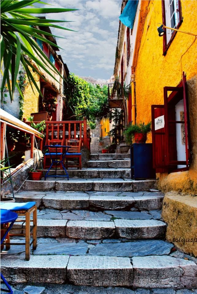 Steps of Plaka, Athens, Greece #Athens #Greece #solebike #ebike #sightseeing
