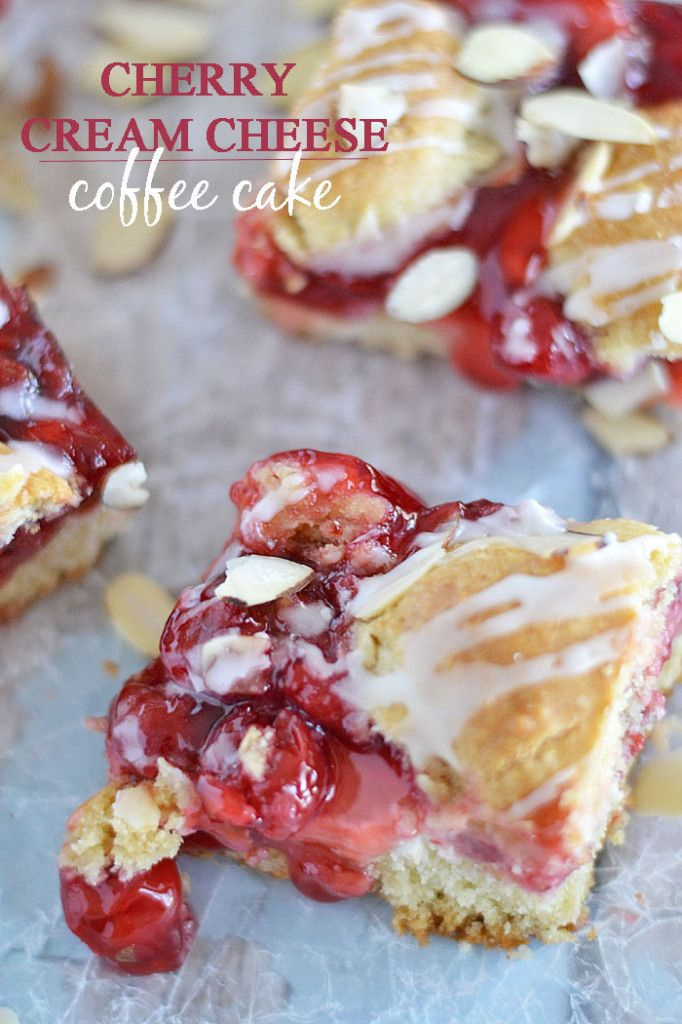 This Cherry Cream Cheese Coffee Cake is the perfect brunch dessert - and it's a cinch to make with baking mix and canned cherry pie filling!