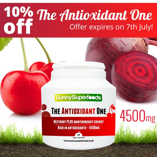 NEW PRODUCT - INTRODUCTORY OFFER: 10% off The Antioxidant One, our brand new antioxidant formula! It contains a concentrated combination of beetroot powder and beetroot extract (10:1), with Montmorency cherry powder and Montmorency cherry extract (10:1) - 4500mg per capsule! Packed with vitamins, minerals (including iron and folic acid), dietary fibre and more... #antioxidants