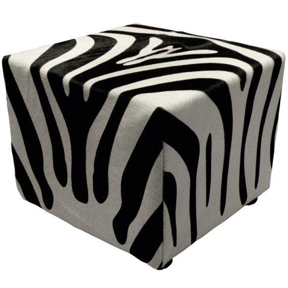 Zebra poef , koehuid poef , poef.