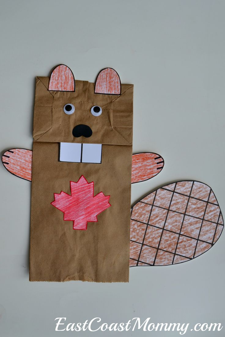 Fantastic Canada Day crafts and activities... including this adorable paper bag puppet beaver.