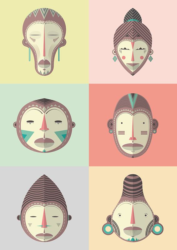 I love african mask, design and illustration. This is the result