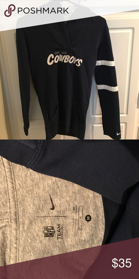 NFL apparel! Dallas cowboys lightweight hoodie! Navy blue women's hoodie with Dallas cowboys in white lettering. With two stripes on the left sleeve with the Nike sign! Very cute and worn only once! Get it before the play offs! Tops Sweatshirts & Hoodies