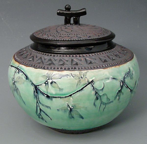 Chubby+Oriental+Jar+in+Green by Suzanne+Crane: Ceramic+Jar available at www.artfulhome.com