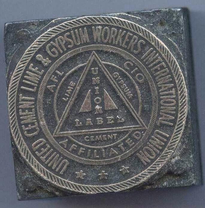 ca1950s United Cement Lime & Gypsum Workers Union printer's block line cut   eBay