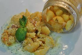 Appunti di cucina di Rimmel: Pasta e patate in vasocottura con crema di mozzarella affumicata