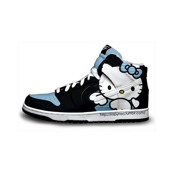 kelly gallery hello kitty nikes ❤ liked on Polyvore featuring shoes,  sneakers, hello kitty