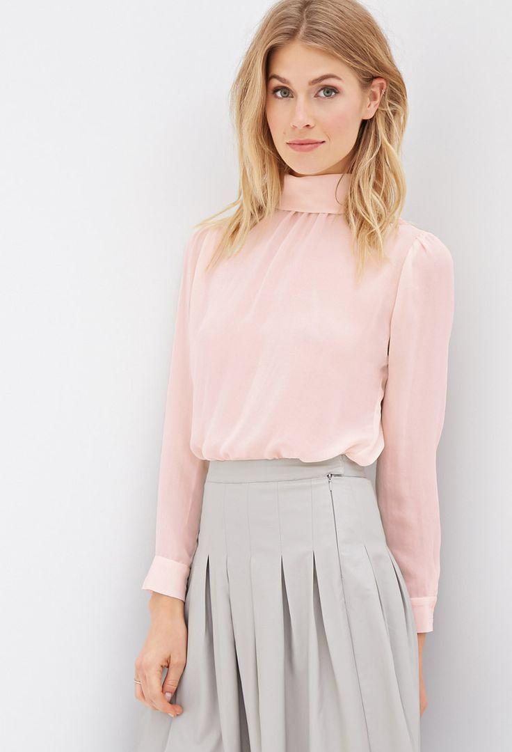 High-Neck Sheer Blouse | FOREVER21 - 2000120135 - pink blouse long sleeve, black and blue blouse, white blouses for sale *sponsored https://www.pinterest.com/blouses_blouse/ https://www.pinterest.com/explore/blouse/ https://www.pinterest.com/blouses_blouse/saree-blouse/ http://www.tbdress.com/Cheap-Blouses-100594/