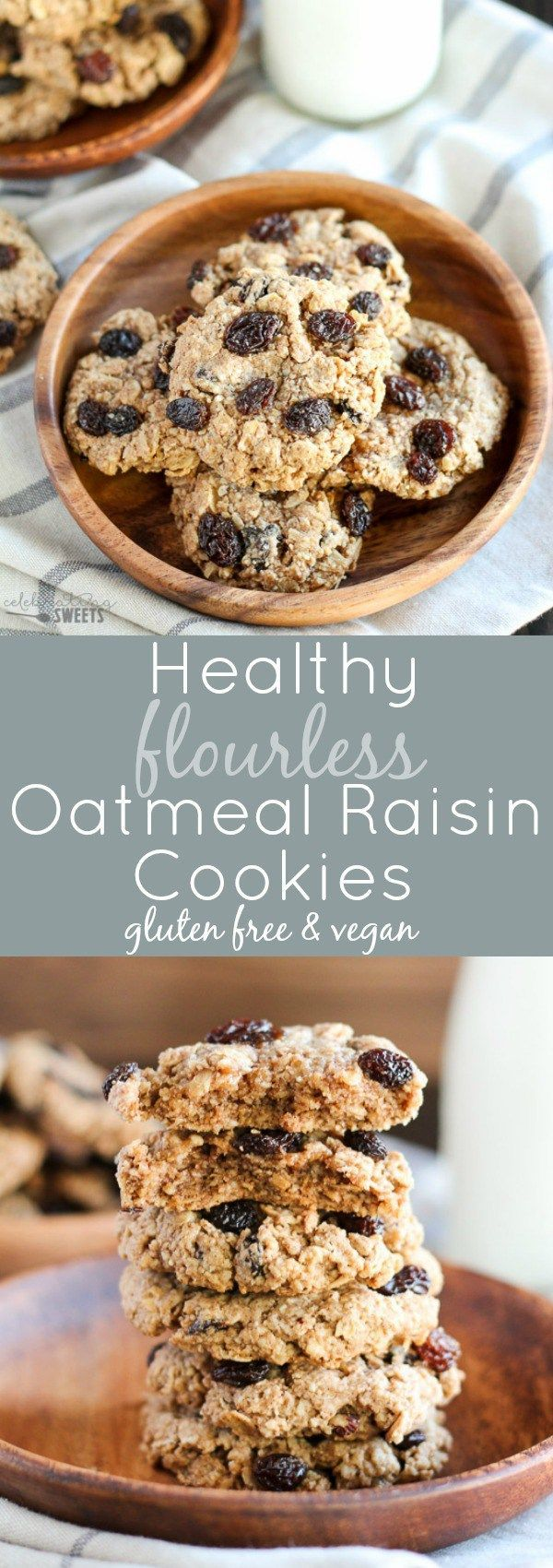 Healthy Flourless Oatmeal Raisin Cookies- Chewy cookies made with oats, almond flour, almond butter, maple syrup and coconut oil. Gluten free and vegan.