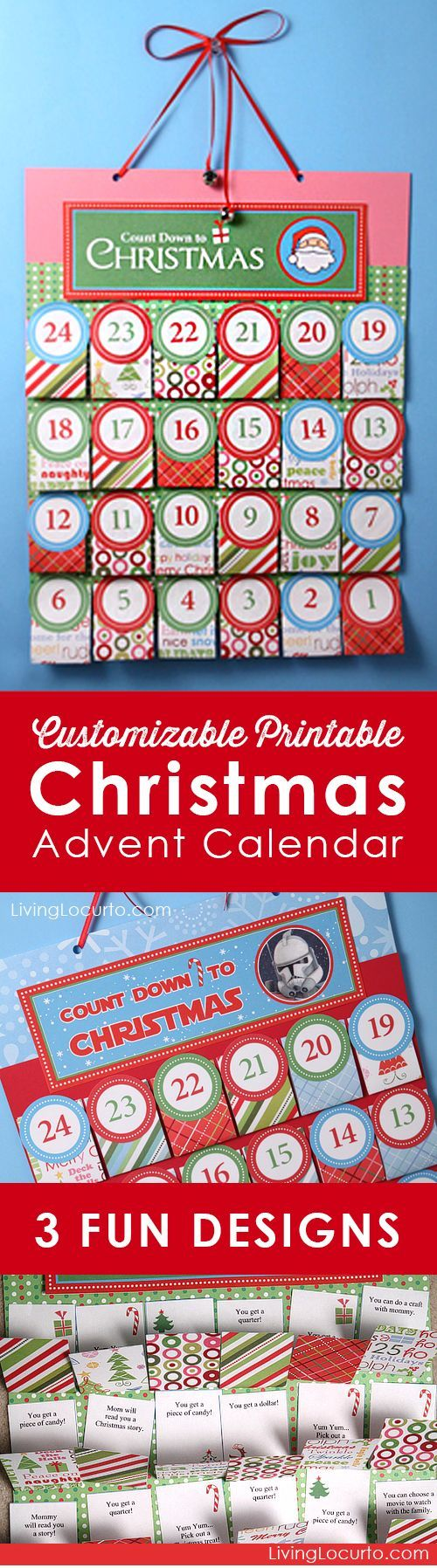 Printable DIY Christmas Advent Calendar. Personalize each day before printing! Choose from Santa, Nativity or Star Wars themes. Fun Holiday Paper craft for kids.