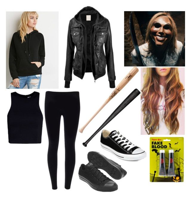 """""""Halloween Costume 'The Purge'"""" by lydiacarrillo on Polyvore featuring Forever 21, T By Alexander Wang, Elisabeth Weinstock and Converse"""