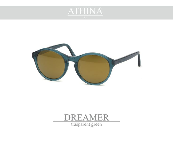 Mod. DRE0707M05 Handmade in a transparent green acetate of cellullose with mirror grey lenses.
