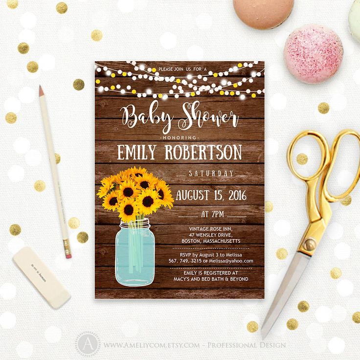 free printable camo baby shower invitations templates%0A Baby Shower Invitation Printable Mason Jar  u     Sunflowers Wood Rustic Baby  Shower gender Neutral Invite Digital