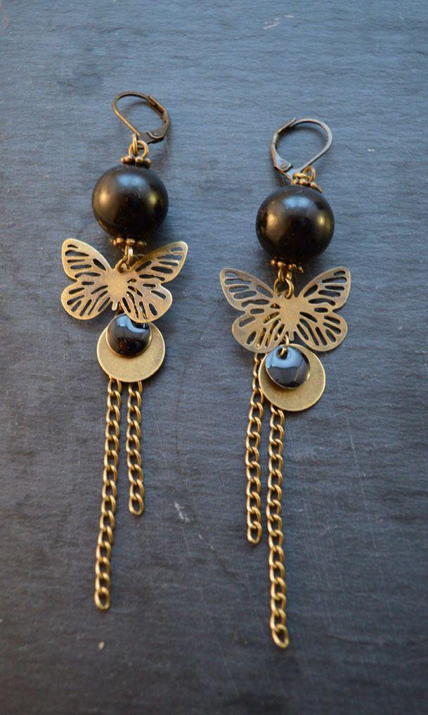 """Boucles d'oreilles noires et bronze """"Minute papillon"""""""