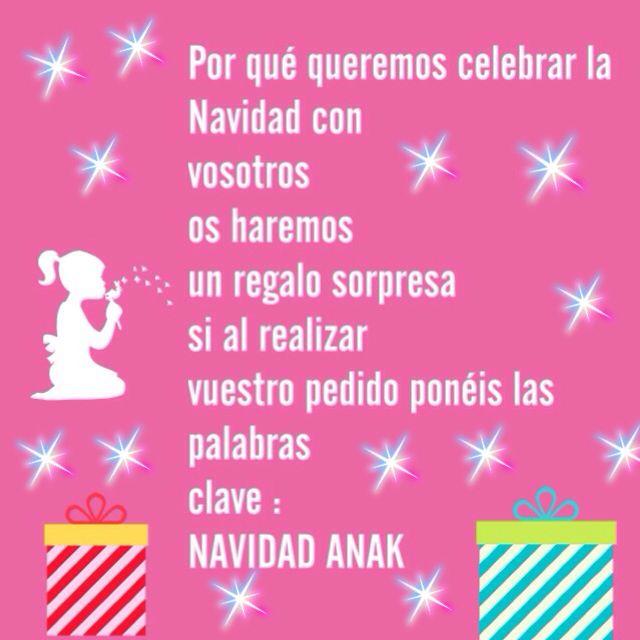 Con las palabras NAVIDAD ANAK en tu pedido , un regalo de nuestra parte , para celebrar que es NAVIDAD . anakcomplements.blogspot.com
