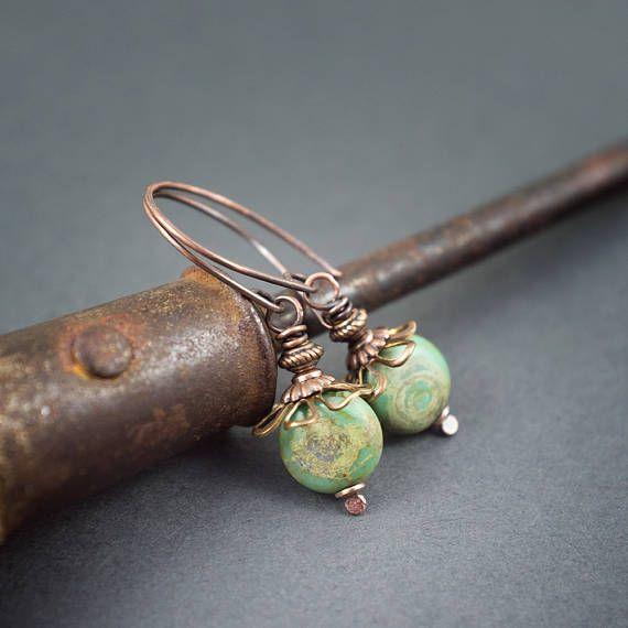 retro bohemian earrings • rustic copper • floral • small earrings • everyday • blue green earrings • short earrings • Czech glass • handmade