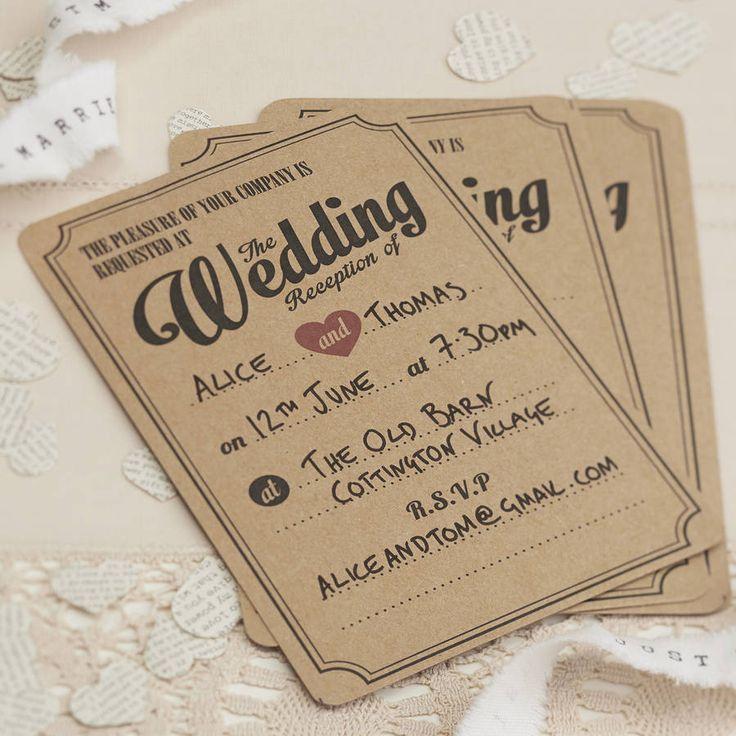evening invites  http://www.notonthehighstreet.com/gingerray/product/brown-kraft-vintage-evening-wedding-invitations