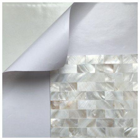 "Art3d Peel and Stick Kitchen Backsplash Tile Mother of Pearl Shell Mosaic, 12"" x 12"" White Subway Self-adhesive Tile"