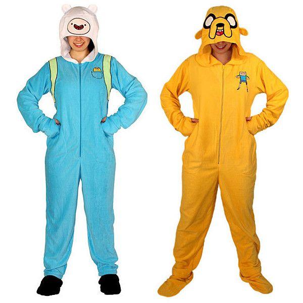Adventure Time Finn Jake Pajamas ($39) ❤ liked on Polyvore featuring intimates, sleepwear, pajamas, adventure time, dresses, comic book, cartoon pajamas and long pajamas