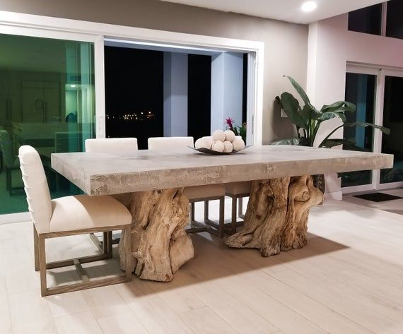 Concrete Dining Table With Real Wood Tree Stump Base In 2020