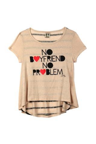 "Camiseta Feminina Manga Curta   ""No Boyfriend No Problem"""