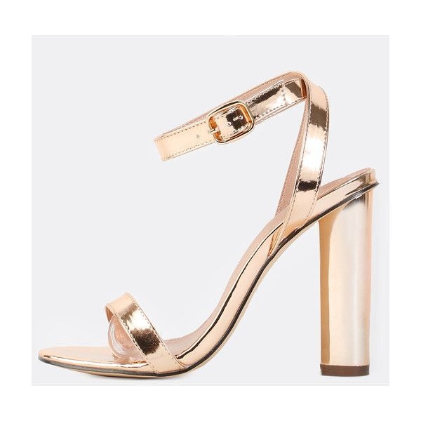 2ebcc7ce29 Wrap Around Metallic Chunky Heels ROSE GOLD (2.225 RUB) ❤ liked on Polyvore  featuring shoes, gold, thick high heel shoes, thick heel shoes, rose gold  shoes ...