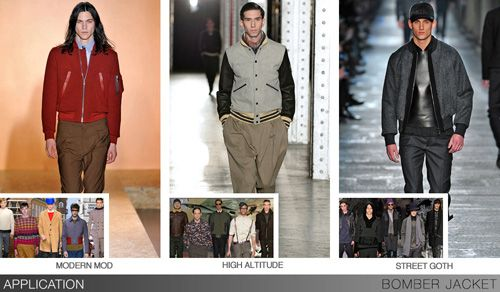 Bomber jackets get plenty of fashion updates for F/W 14/15, becoming the go-to outerwear option for all markets. Pieced construction, color blocking, fur trim, allover pattern, and super-industrial trim all help make it more than a basic. Leather, other lustrous materials, and flat-quilted surfaces keep it city-ready, while a renewed focus on updated tradition means plenty of tweed and other suiting fabrics come out to play. Silhouettes range from super-cropped for a Mod influence to…