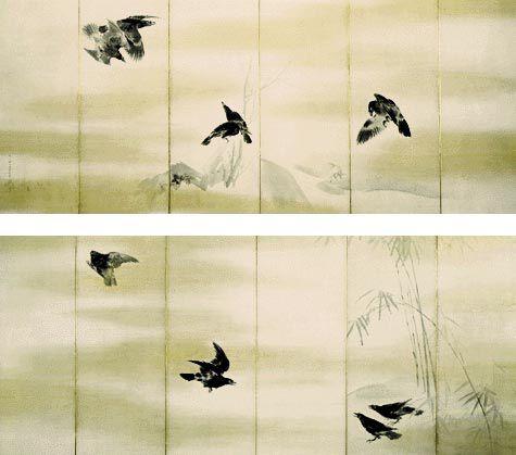 'Crows' by Maruyama Okyo - Category:Maruyama Okyo - Wikimedia Commons