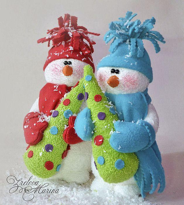 Muñecos de Nieve Grandes com Molde y Patrones gratis01