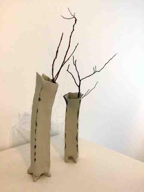 Yvonne Kitchener Studio Potter 2 tall cream vases $65 each
