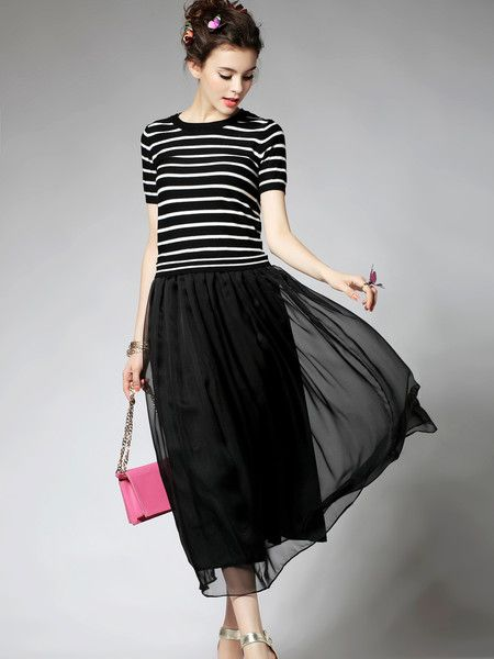 Paneled Polyester Maxi dress