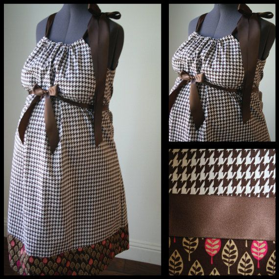 Maternity Hospital Gown: Brown and White Houndstooth/ Leaf Trim (labor and delivery maternity hospital gown)