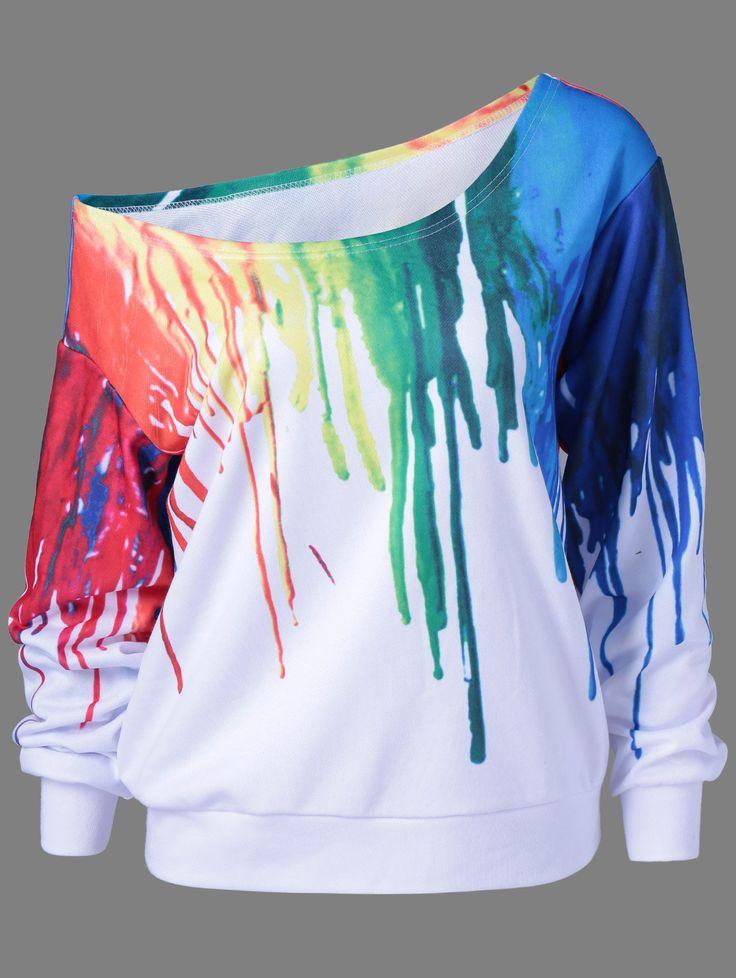 Paint Drip Design Skew Collar Sweatshirt in White | Sammydress.com