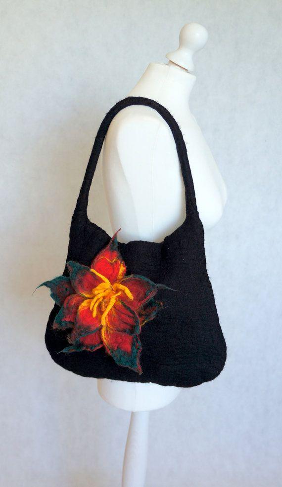 Felted handbag. Wet felted bag. flower bag. ♡ by Feltmondo ...