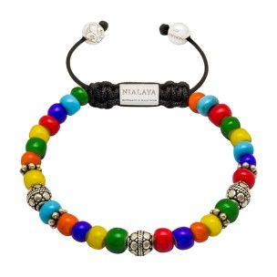 Nialaya bracelet with muilticoloured hand-carved crystal and silver: 240€