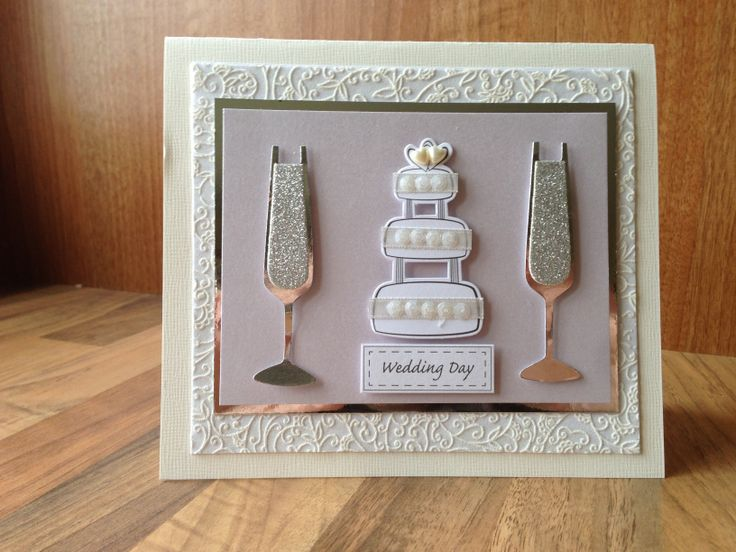 Simple wedding card, cream and silver