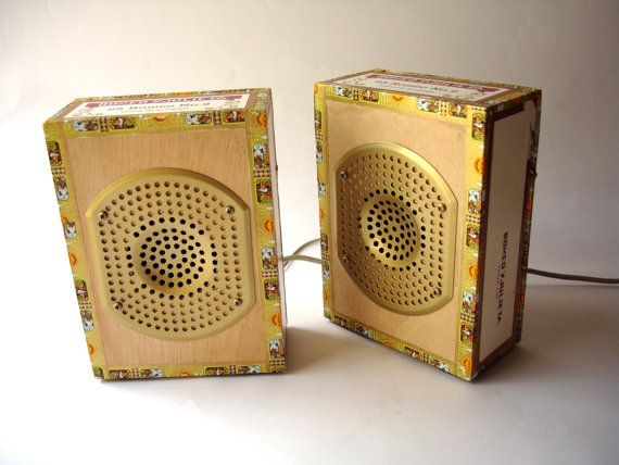 USB PC Speakers  Recyled Cigar Box by BoscaBosca on Etsy, €75.00