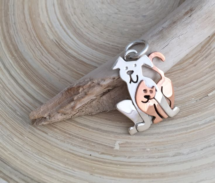 Sterling Silver Dog and Copper Cat Pendant