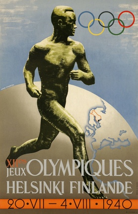 XIIe Jeux Olympiques Helsinki Finland, 1940. Vintage Olympic Poster www.galerie123.com