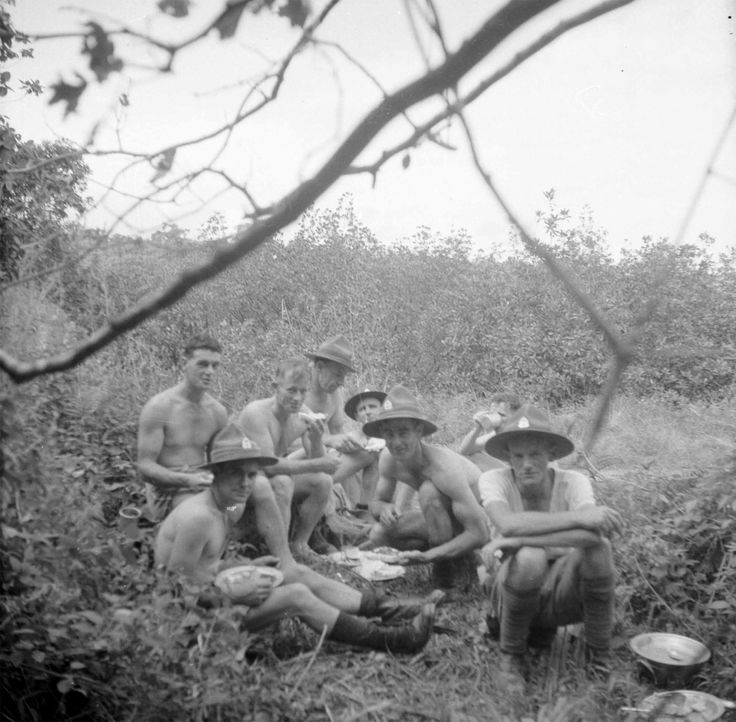 Members of 8th Infantry Brigade sharing food, Fiji, circa WWI. From the collection of the air Force Museum of New Zealand.