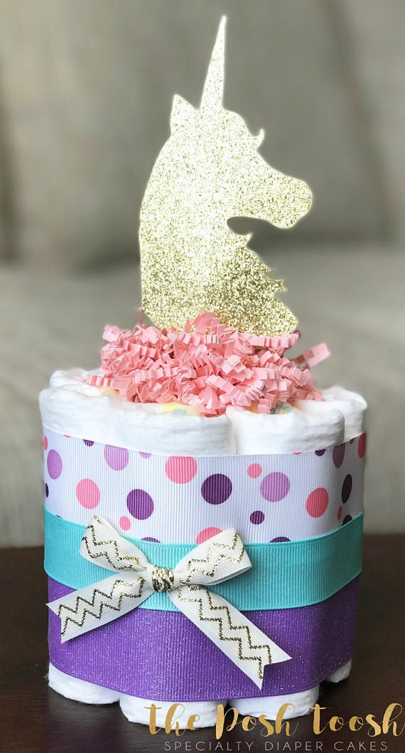 Girl Unicorn Diaper Cake, Baby Shower Gift, Baby Shower Centerpiece Decor,  One Mini Pink Gold Purple Teal Unicorn Rainbow Diaper Cake,1 Tier