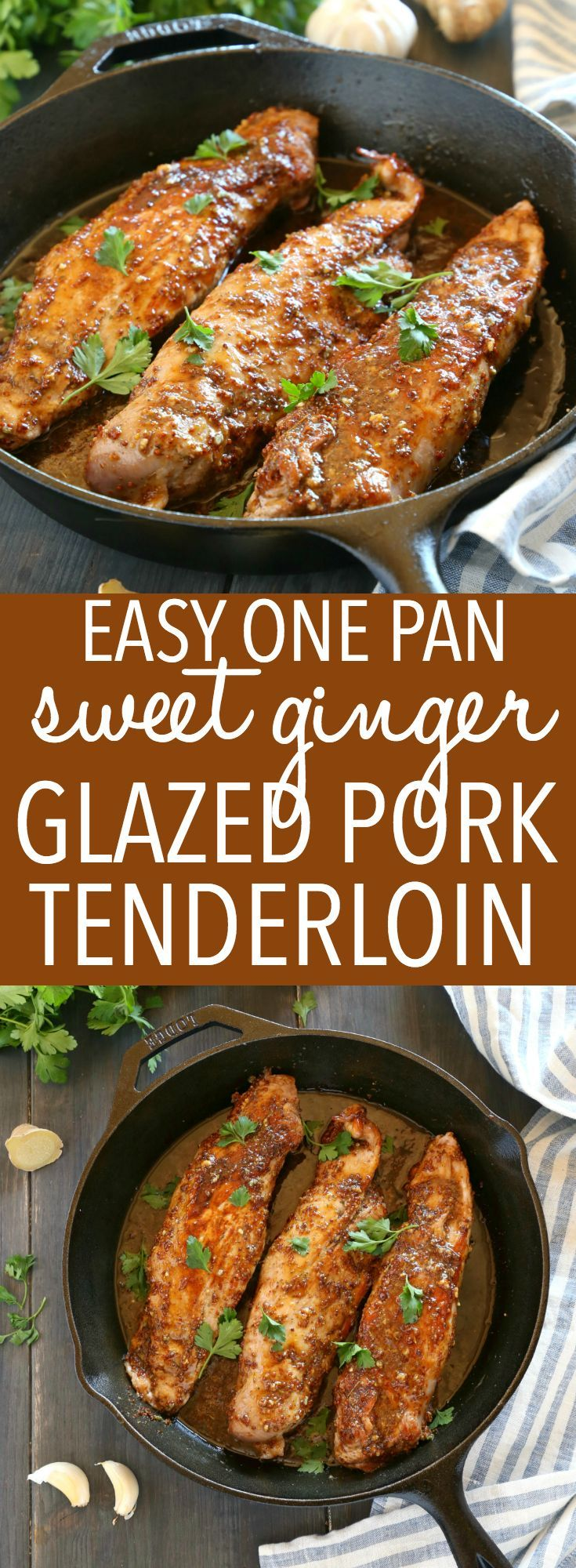 This Easy One Pan Sweet Ginger Glazed Pork Tenderloin is perfectly tender and juicy, cooked to perfection with a sweet ginger glaze! Made from basic ingredients you probably already have in your kitchen, this will quickly become one of your favourite ways to enjoy pork! Recipe from thebusybaker.ca! #easyporktenderloin #asianpork #gingerglazedpork via @busybakerblog