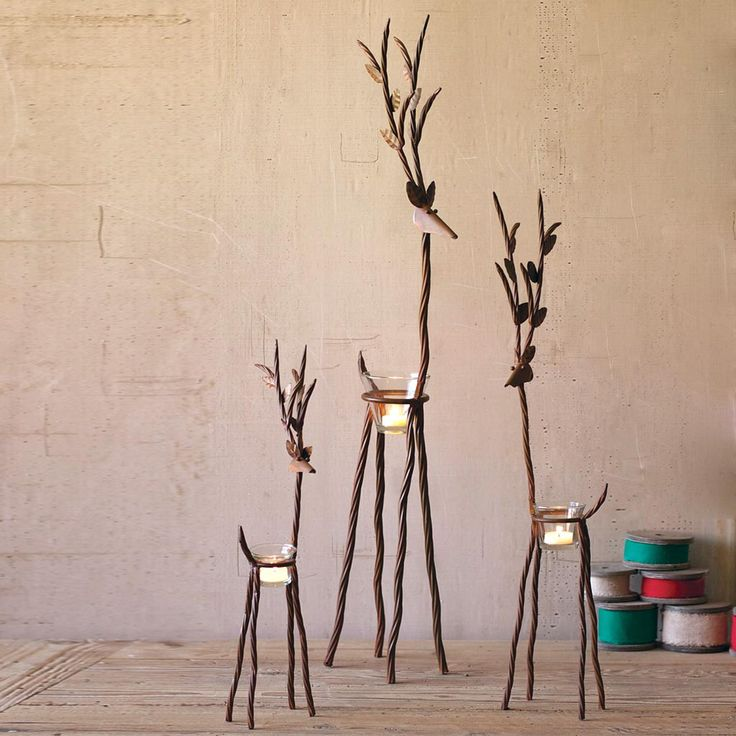 (Set of 3) Rustic Iron Reindeer with One Tealight